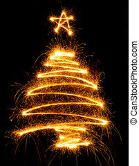 Christmas tree made with sparkler on a black