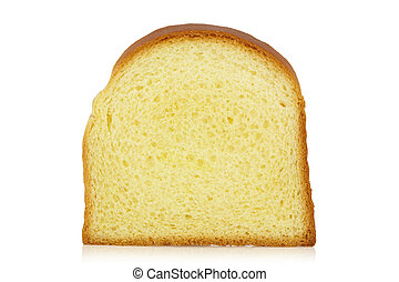 Slice of bun - Standing bread slice isolated on a white...