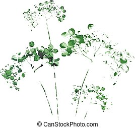 Watercolor drawing wild flowers - Drawing silhouette wild...