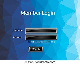 Vector member login template