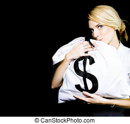 Business Woman In Love With Financial Success - Studio Image...
