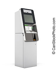 ATM machine 3d rendering - ATM machine isolated on white...