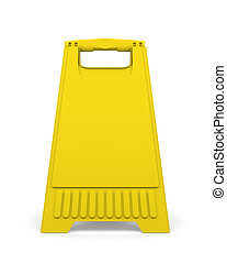 Yellow sign board stand. 3d illustration. - Yellow sign...