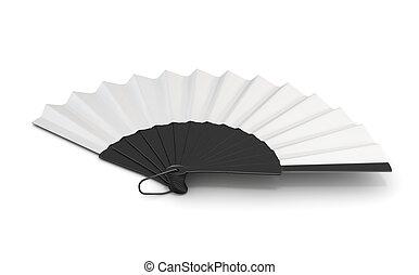 Open hand fan isolated. 3d illustration. - Open hand fan...
