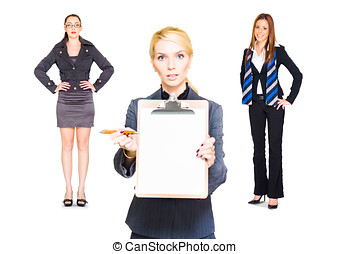 Career Recruitment Business Woman With Job Offer - Studio...