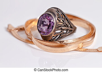 Gold chain snake netting and silver ruby ring - Gold chain...