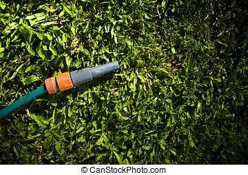 Lawn Maintenance And Garden Care - Garden hose with spray...