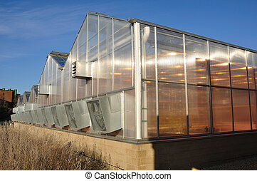 Greenhouse against a clear blue sky