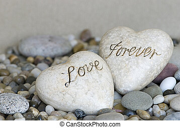 two hearts with text love forever