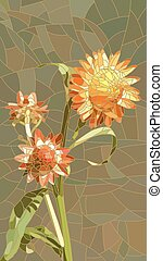 Mosaic of yellow Helichrysum. - Vector vertical mosaic with...