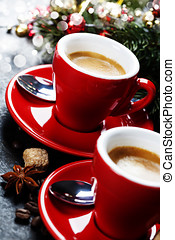 Christmas coffee - Coffee Espresso. Red Cups Of Coffee and...
