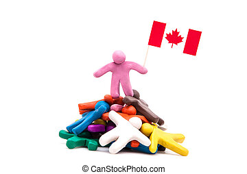 Plasticine man with the Canadian flag