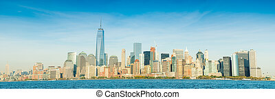 Downtown Manhattan over East river. Panoramic giant view.