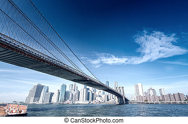 The Brooklyn Bridge and Downtown Manhattan, New York City