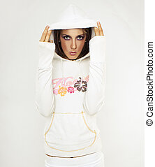 fashion model in white hoody