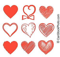 set of abstract heart shapes. vector illustration