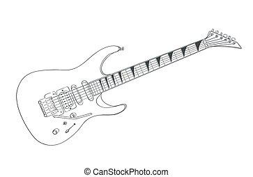electric guitar drawing on white. line art vector illustration