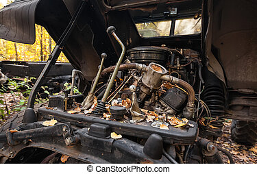 Old truck gear lever Broken engine compartment