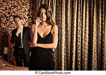relations - Fashion shot of a beautiful gorgeous couple in a...