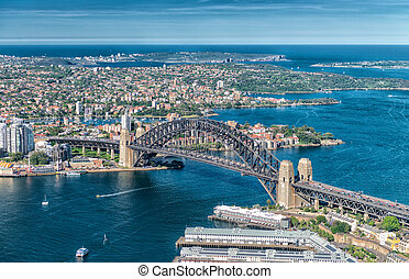 Wonderful aerial view of Sydney Harbour.