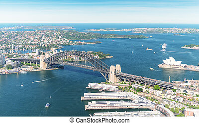 Sydney. Bird eye view from helicopter.
