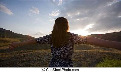 Woman Feeling Freedom - Woman feeling freedom and represents...