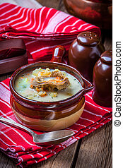 Cucumber soup - Cucmber soup with ingredients on a wooden...