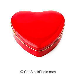 Red gift box in form of heart
