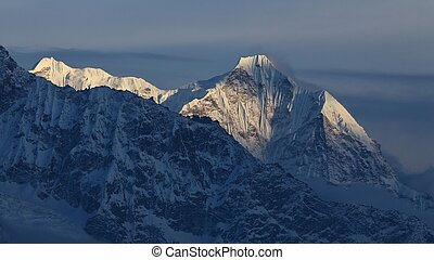 Evening scene in the Everest National Park - View from...