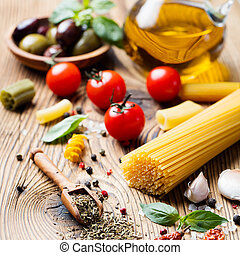 alimento, fundo, italiano