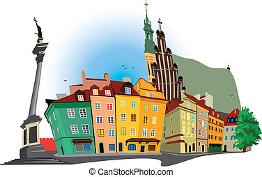 Warsaw Old Town - Vector color illustration of Castle Square...