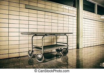 metal stretcher in horror hospital - Old vintage metal...