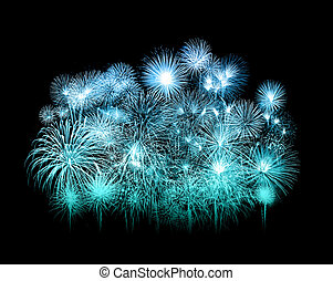 beautiful fireworks over sky at night