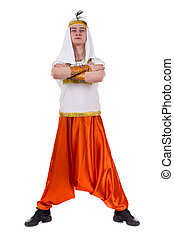 Dancing pharaoh wearing a egyptian costume Isolated on white...