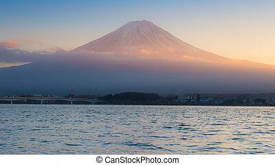 Sunset at Kawaguchi Lake in Japan with Mt Fuji background