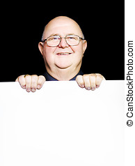 pensioner selling discount savings on blank board - Smiling...