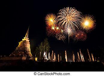 Fireworks festival at Sukhothai History Park, Thailand