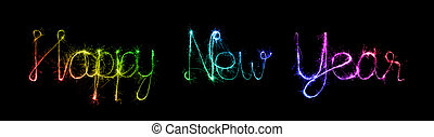 Happy New Year made of sparkles firework at night background