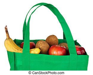 Groceries in Reusable Green Bag Isolated on White