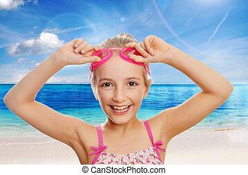 girl in swimming costume - Cute girl swimmer in swimming...
