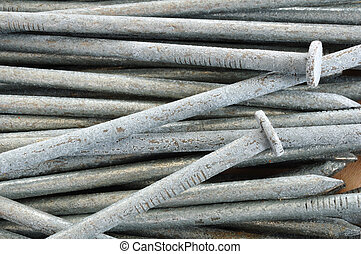 Close-up of Galvanized Nails for a Background