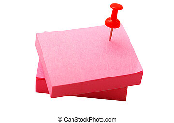 stack of red stickers and pushpin on a white background