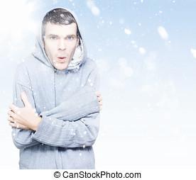 frío, hombre, congelación, invierno, nieve