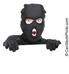 Surprised Robber Holding Blank Security Sign