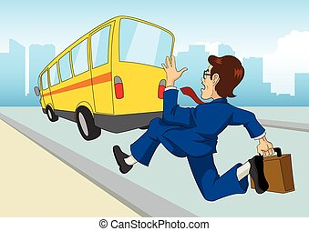 Cartoon Businessman Chasing The Bus