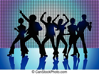 Disco Party - Silhouette Illustration of couples dancing on...