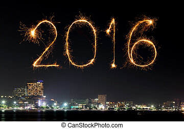 2016 Happy New Year Fireworks celebrating over Pattaya beach...