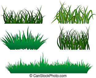 Green grass patterns - Green grass elements for design and...