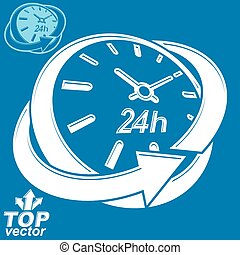 Elegant 3d vector round 24 hours clock, around-the-clock pictogram
