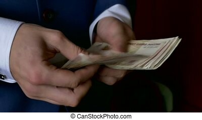 man business man counts money Russian ruble - man business...